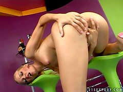 Sophie Moone is a lovely blond-haired babe with long legs