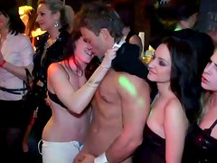 Voluptuous slim and lissom gals strips in the club, shows their tits and asses