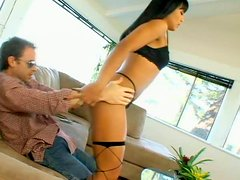 Black haired oriental nympho Max Mikita takes a chance to suck and ride a dick