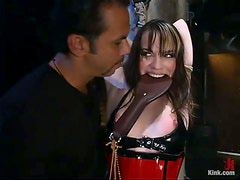 Hot doggy style sex with a collar on Dana's neck