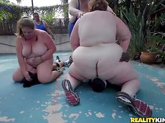 Fat ladies with huge asses and heavy tits take off