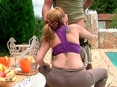 Alluring red-haired milf gives a zesty blowjob to horny wanker