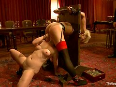 Blonde girl gets clothespinned and toyed deep in BDSM vid