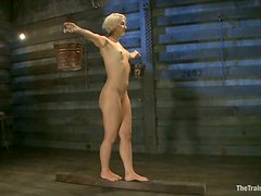 Dylan Ryan gets her pussy fucked with a toy in a basement
