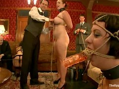 Bondage - A few dark-haired girls get humiliated and mouth-fucked in BDSM vid
