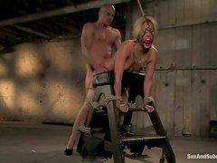 Ben English ties sexy blonde Isis Love before fucking her mouth and vag