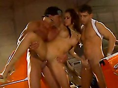 Sinful Latina Daisy Dukes brutal tag team cock pounding and facial