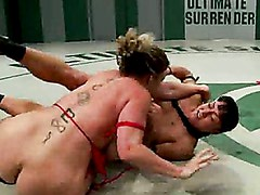 12th vs 7th: 2 big titted wrestlers battle to avoid eliminationLoser fucked as punishment in RD4