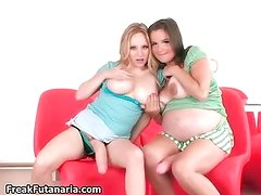 Busty blonde and pregnant brunette babes