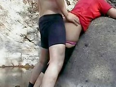 Indian couple fucking in GOA beach behind rocks