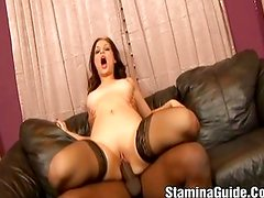 Hot brunette Jessica nailed by black cock