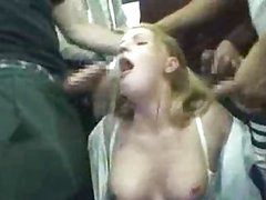 Blond cheerleader groped on train