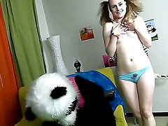 Horny girl playing with toy bear