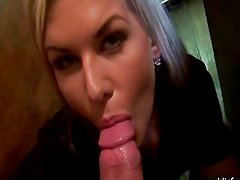 Gorgeous blonde barmaid paid and gets banged