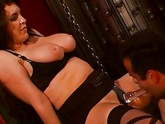 Strict femdom mistress educating her slave