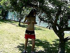 Jana strips and masturbates in the garden
