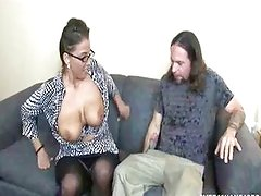A Busty MILF jerks daughters boyfriend