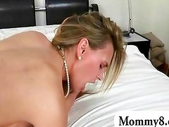 Schoolgirl with her bf and stepmom 3some