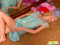 Satin nightgown on blonde