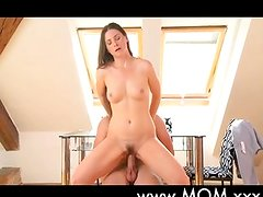 Sexy brunette MILF loves his cock
