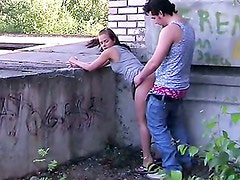 Pretty teen has sex on the roof.