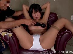 Slutty Asian Chick Has Toys In Her Pussy And Ass