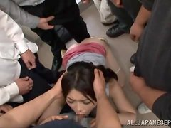 Public bus gangbang for a kinky Japanese vixen