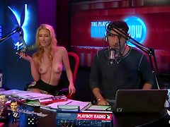 Radio hosts have fun with a cute busty blonde