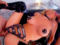 Horny blonde in naughty bdsm porn