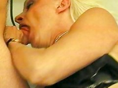 Lingerie granny fucked hard by pole