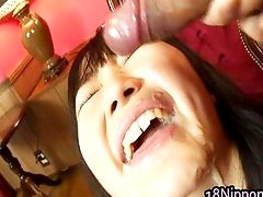 Hot asian teen gets load of cum in her mouth