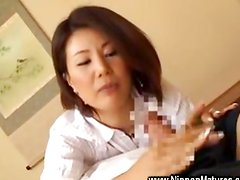 Horny asian housewife plays with cock