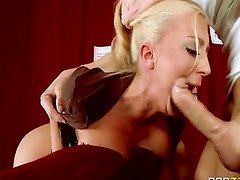 Blonde  big tits fucking with guy in cinema