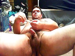 chubby bear and his dildo