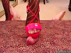 Cock trample with red shoes and panythose