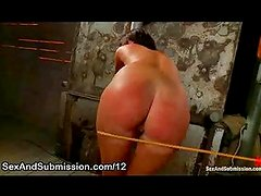 Perfect ass babe caned and fucked in dungeon