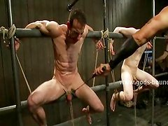 Two gay hunks are tied in old yarn bdsm