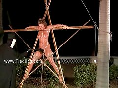 Brunette in tight ropes fucked