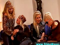 Classy glamour fetish lesbians with strapon