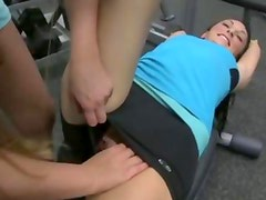 Lesbos training their tongues at the gym