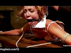 Bound over the table babe flogged