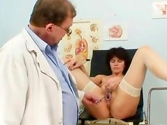 Horny old guy injecting fluids into