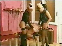 Two mistress fuck one slave