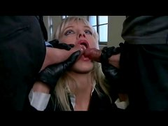 Boots and gloves on slut in double penetration