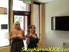 Big breasted milf babes flash tits in public