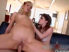 Guy fucking a blonde tattooed whore