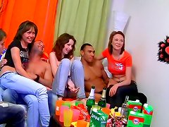 Adorable teens in wild group action