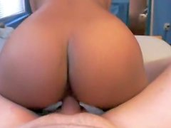 Priceless brown wazoo bouncing on rod reverse cowgirl