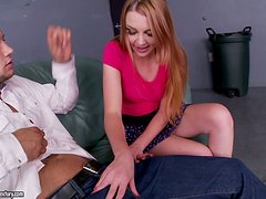 Pretty Marie McCray gives a footjob and gets nailed