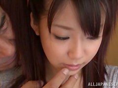 Arisu Hayase plays with an older man's prick indoors
